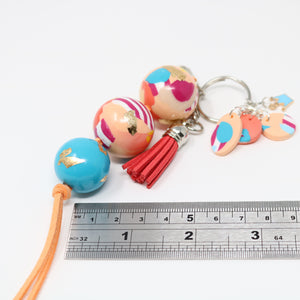 The Ruby Hook: Candy Stripe Polymer Clay Bag Charm