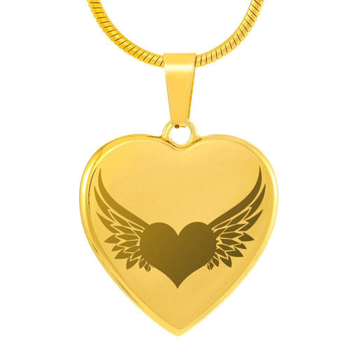 Personalized Angel Wings with Heart Pendant Necklace
