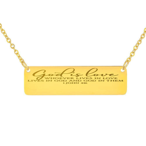 God is Love Vertical Bar Custom Necklace