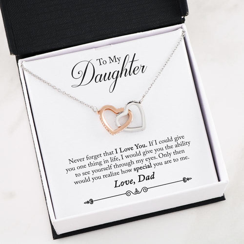 Daughter Gift from Dad Interlocking Heart Necklace