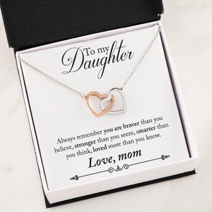 Interlocking Heart Necklace - Mom to Daughter Message