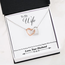 Load image into Gallery viewer, Husband to Wife Gift Interlocking Heart Necklace with Message Card Everything