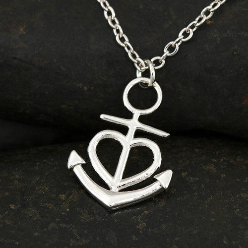 Nautical Anchor Cross Necklace