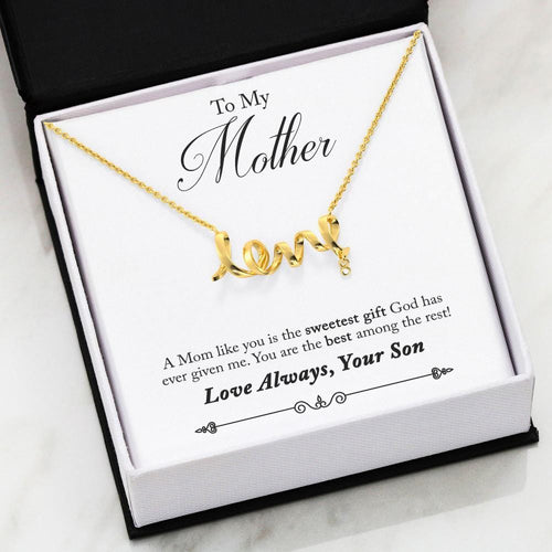 Scripted Love Necklace Son to Mom Message