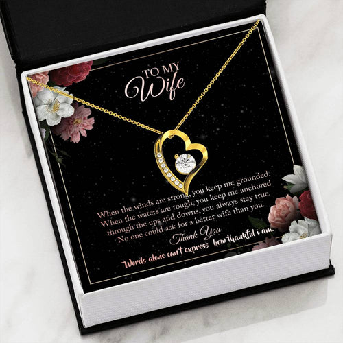 Gifts for Wife from Husband - Heart Gold Necklace - For Wife Birthday and Wedding Anniversay Gift