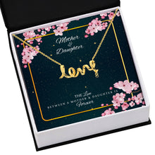 Load image into Gallery viewer, Mother Daughter Necklace Scripted Love Jewelry- Mothers Day Birthday Gift