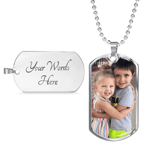 Custom Colored Photo Military Chain Necklace