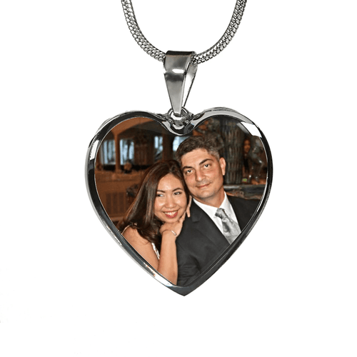 Personalized Colored Photo Heart Necklace