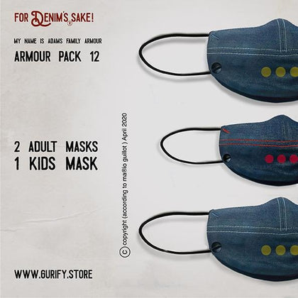 Adams family Armour denim face mask - Pack no 12 (Includes 3 Masks) - Gurify