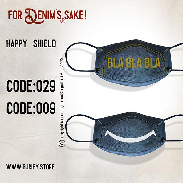 Happy Shield denim face mask (Includes 2 Masks)