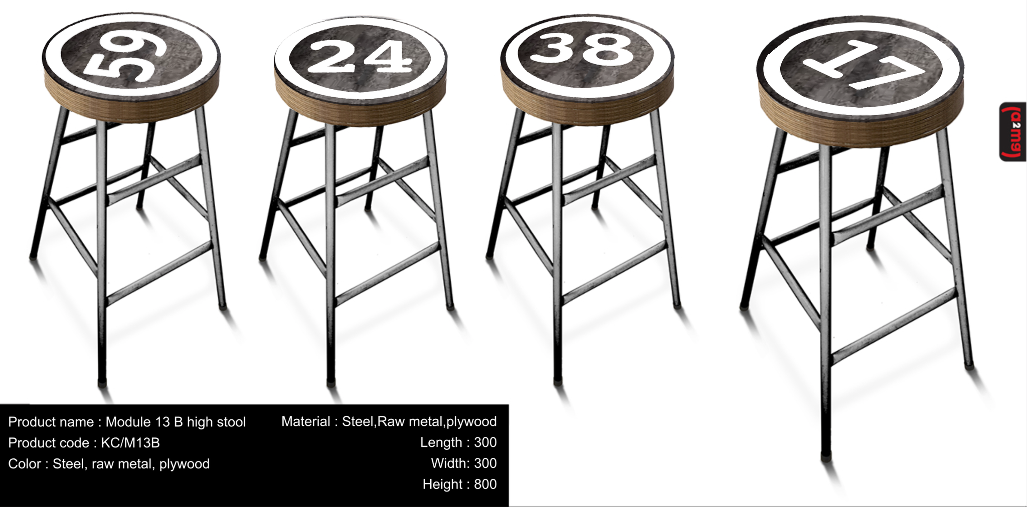 (a2mg) Metal top tavern stools