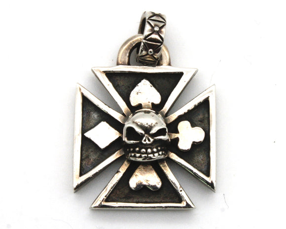 Skull on Iron Cross Pendant