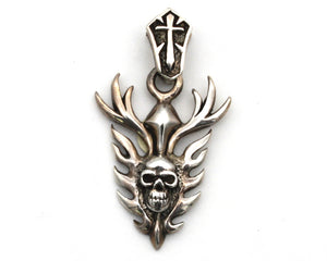 Skull with Flames Pendant