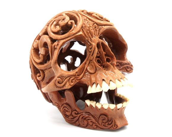 Wooden Skull Carving