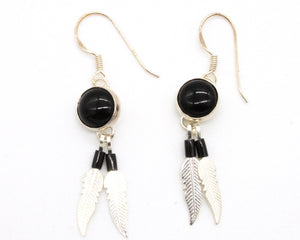 Onyx Feather Earring