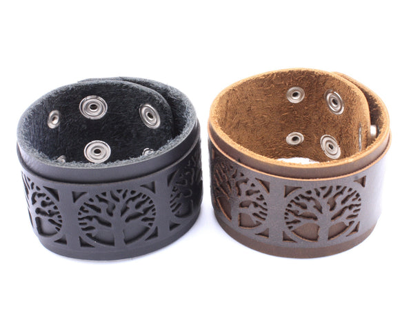 Tree of Life Leather Cuff
