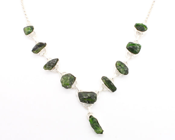 Chrome Diopside Silver Necklace