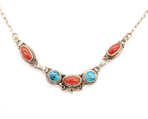 Turquoise and Coral Silver Necklace