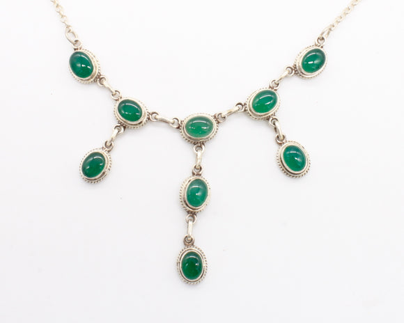 Green Agate Silver Necklace