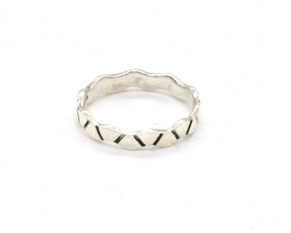 Silver Wavy Pinky Ring
