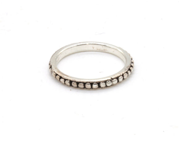 Dotted Silver Pinky Ring