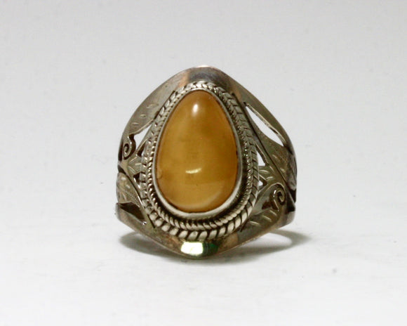 Butterscotch Amber Stone Ring
