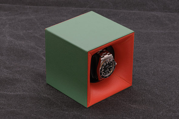 ADATTE DESIGN DUAL TONE LEATHER WATCH WINDER GREEN/ORANGE