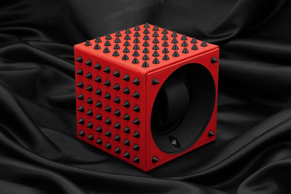 ADATTE DESIGN X SWISS KUBIK SPIKES WATCH WINDER RED/BLACK