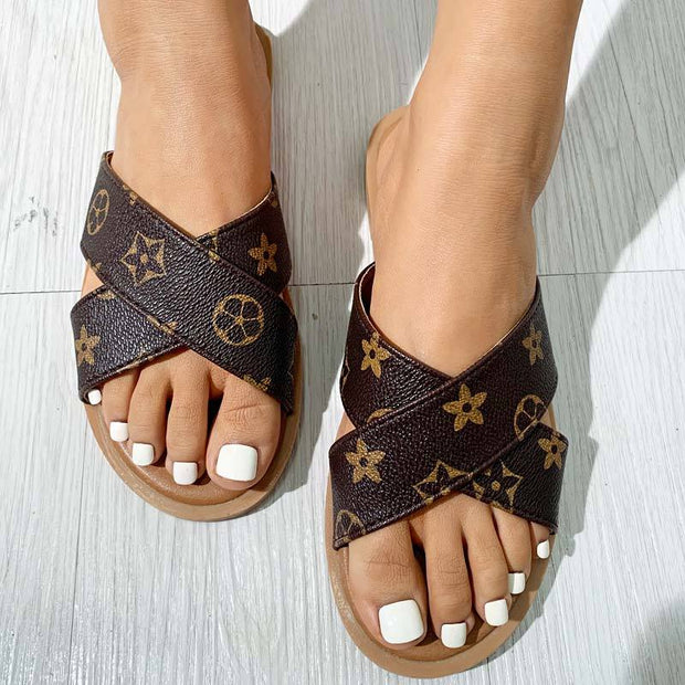 Casual Fashion Letter Print Flat Slippers Sandals