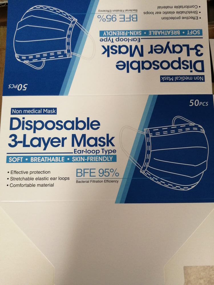 Load image into Gallery viewer, Disposable 3-Ply Face Masks Pack of 50 - OsirisPPE Personal Protective Equipment