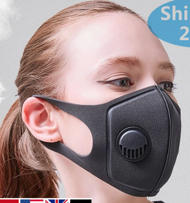 Defence - Black Face Mask w/valve Washable & Reusable - OsirisPPE Personal Protective Equipment