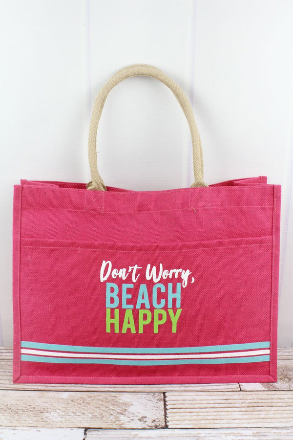 'Don't Worry, Beach Happy' Hot Pink Jute Pocket Tote