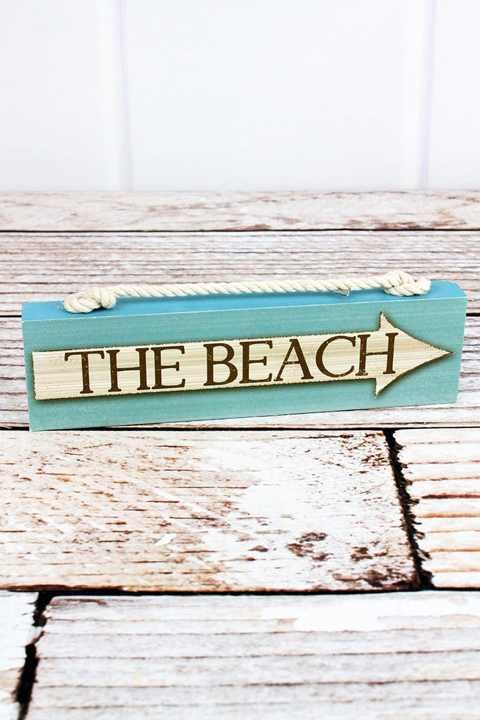 'The Beach' Wood with Rope Block Sign