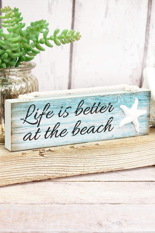 'Better at the Beach' Wood Block Sign