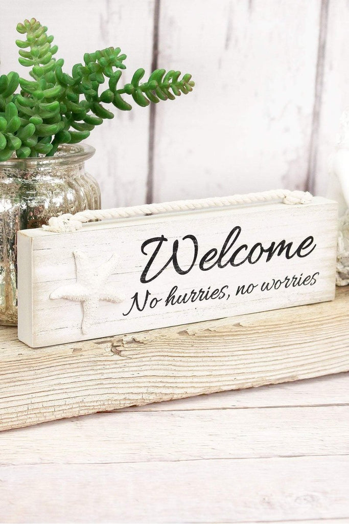 'Welcome' Wood Block Sign