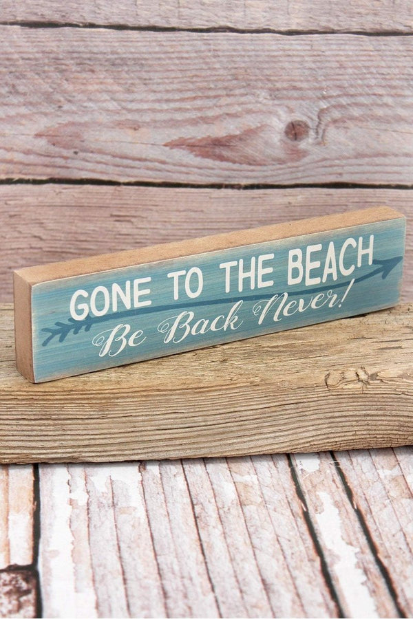 'Gone To The Beach' Wood Tabletop Block