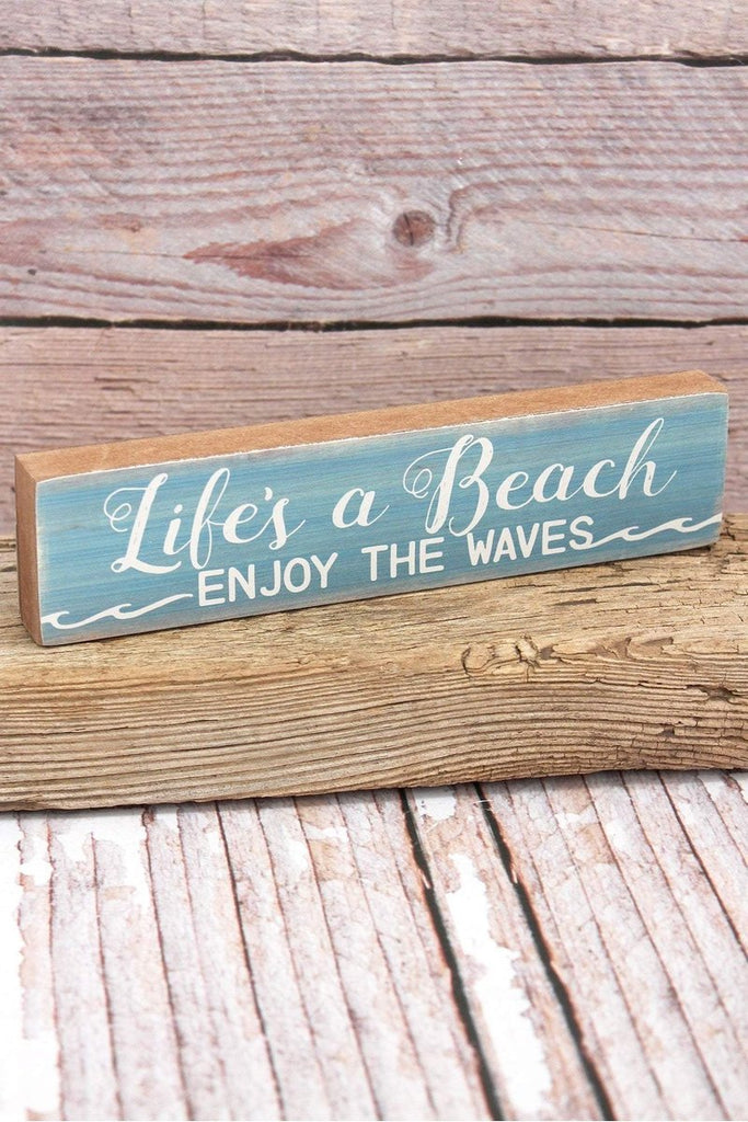 'Life's A Beach' Wood Tabletop Block