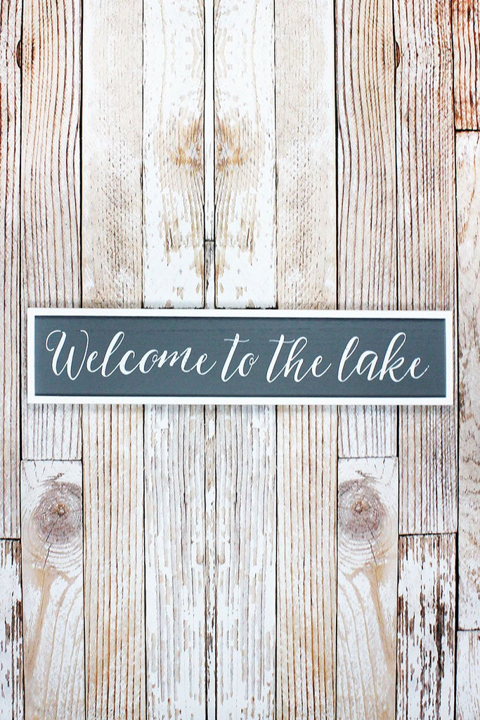 'Welcome To The Lake' Wood Framed Wall Sign