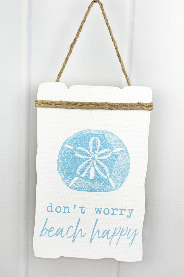 'Don't Worry Beach Happy' Wood Sign
