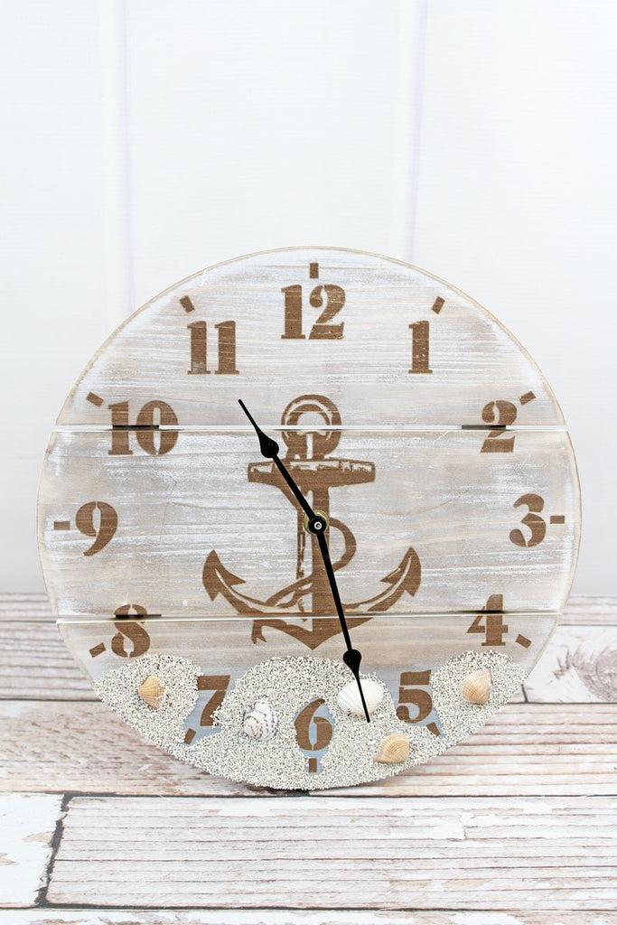 'Beach Anchor' Round Wood Clock