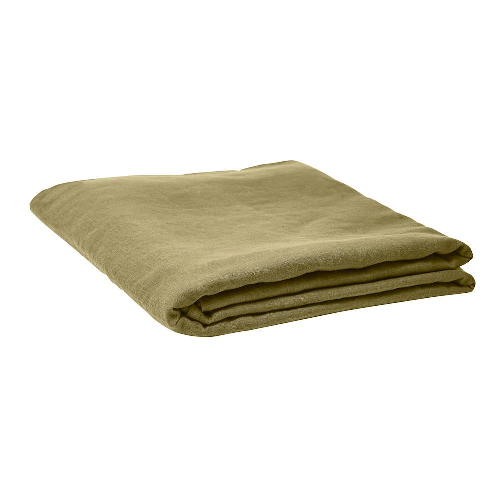 Linen Fitted Sheet Moss