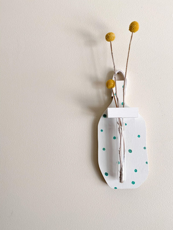 Spritely Wall Vase- White and Green Dots