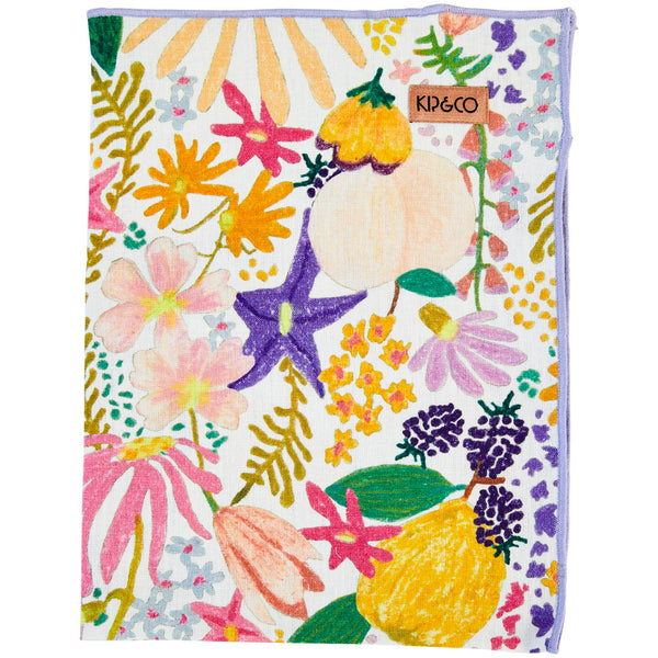 Meadow White Linen Teatowel