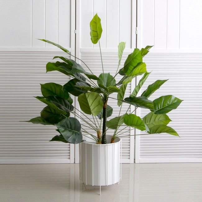Metal Display Plant Stand w Pot Gloss White