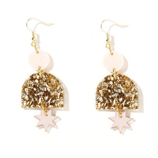 Alexa Earrings// Pale Pink, Chunky Gold Glitter & Rose Gold Mirror