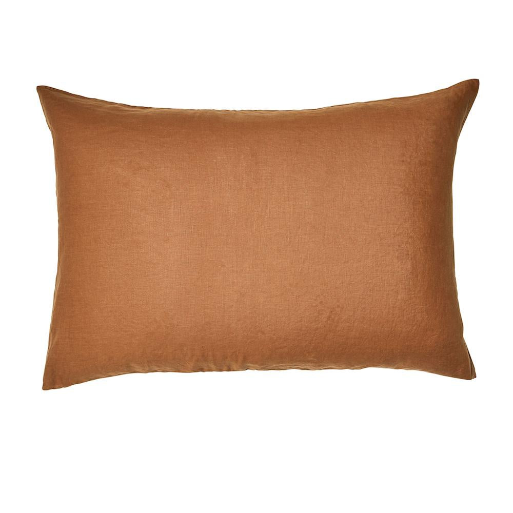 Linen Standard Pillowcase Set Tobacco