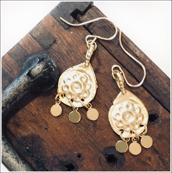 Gold Charm Daisy Drops Standard Earwires. Gold Filled Ear Wires