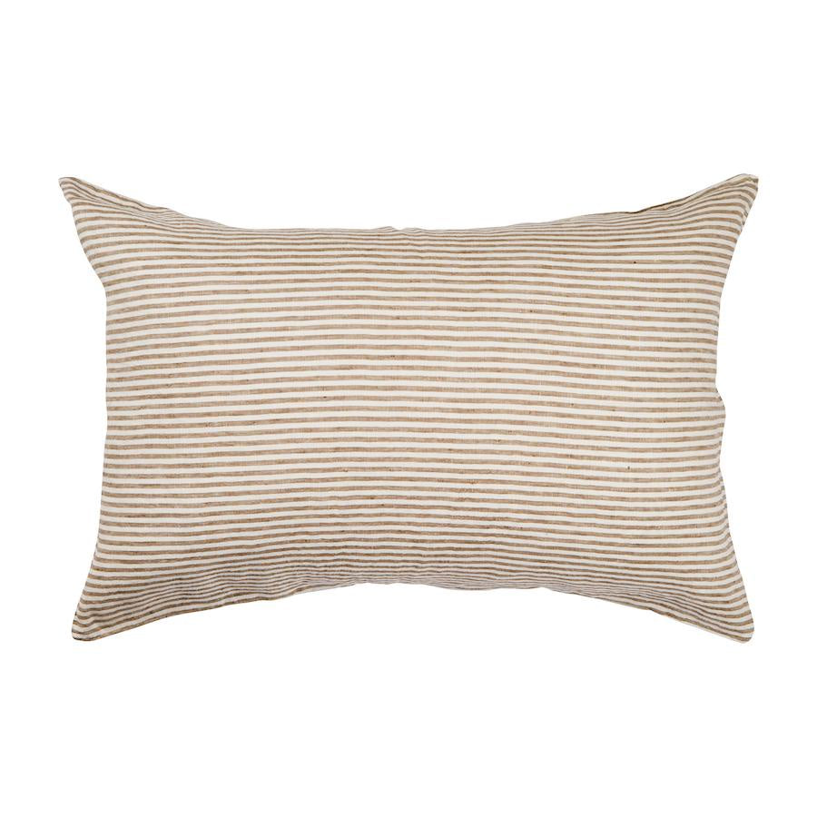 Linen Standard Pillowcase Set Moss Stripe