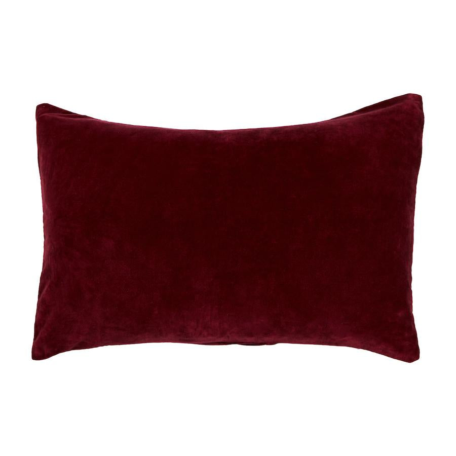 Bedari Velvet Pillowcase- Scarlet