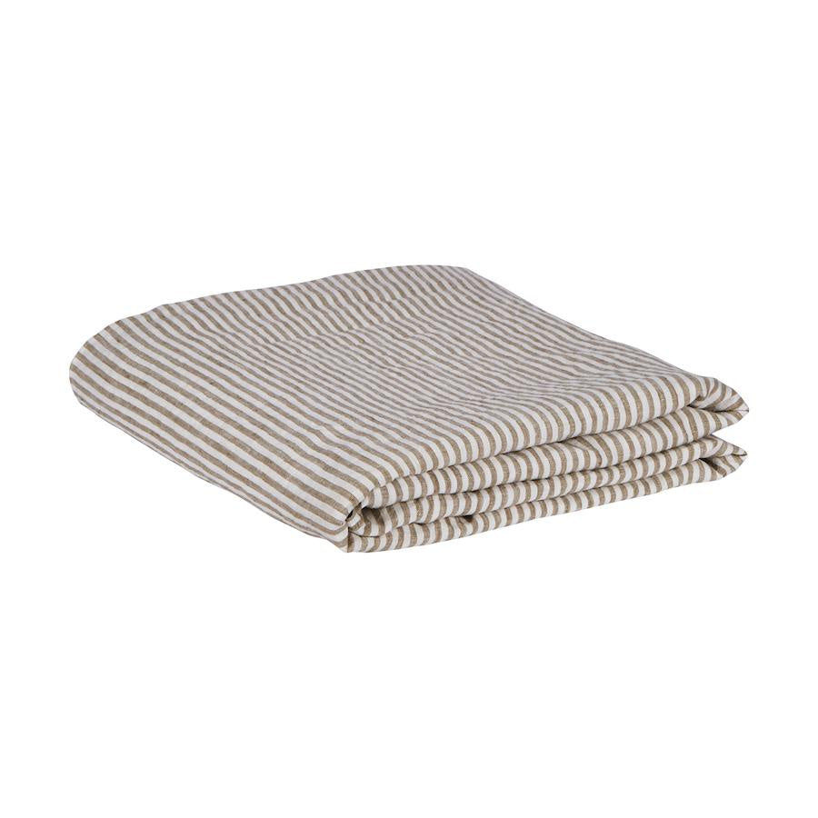 Linen Fitted Sheet - Moss Stripe